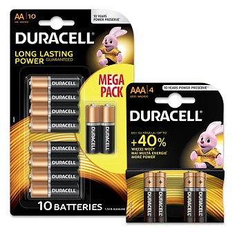 Obrázek produktu Alkalické baterie Duracell Basic - AA nebo AAA