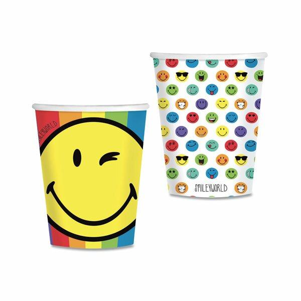 Papírové kelímky Smiley World objem 0,25 l, 8 ks
