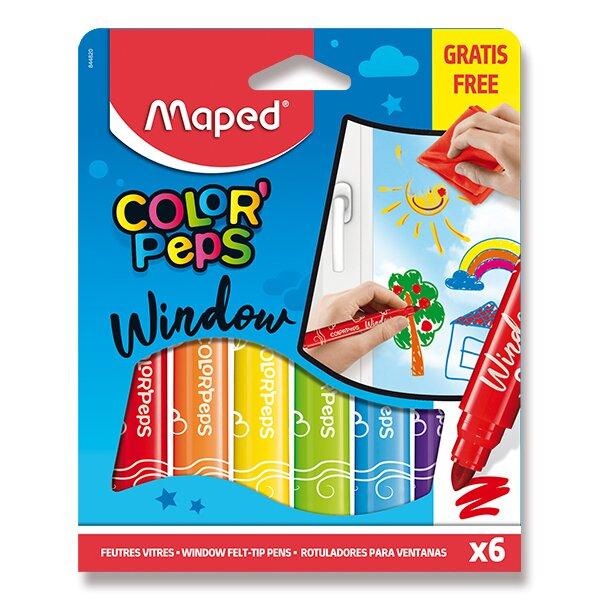 Fixy Maped Window na sklo 6 barev + hadřík