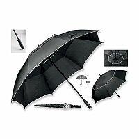 NATE - polyesterový vystřelovalcí deštník na golf, 8 panelů, černá