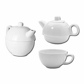 Obrázek produktu TEASET 2 in 1 - porcelánová konvička 2 v 1 - konvička 350 ml, hrnek 270 ml, bílá