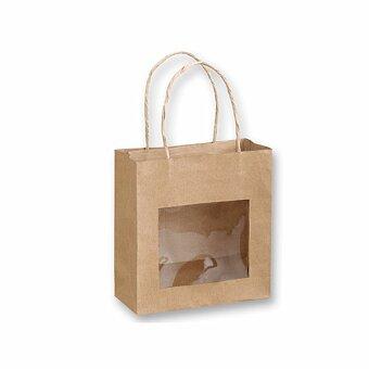Obrázek produktu NATURA II - papírová dárková taška s fóliovým okénkem, přírodní