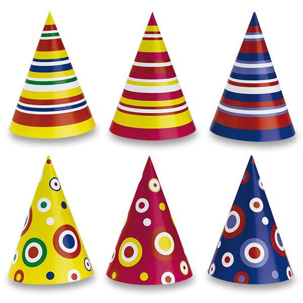 Papírové barevné kloboučky se vzorem mix motivů