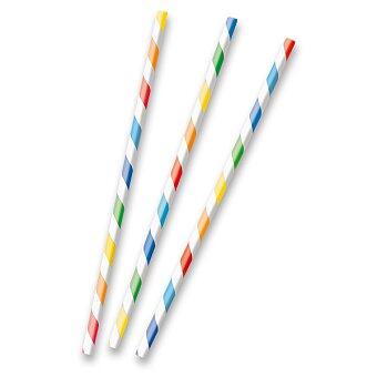 Obrázek produktu Papírová brčka s proužky - základní barvy, 12 ks