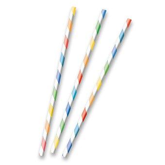 Obrázek produktu Papírová brčka s proužky - pastelové, 12 ks