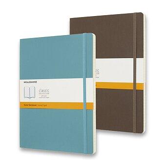 Obrázek produktu Zápisník Moleskine -  měkké desky - XL, linkovaný, tyrkysový a khaki