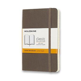 Obrázek produktu Zápisník Moleskine - měkké desky - S, linkovaný, khaki
