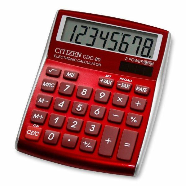 Stolní kalkulátor Citizen CDC-80 červený
