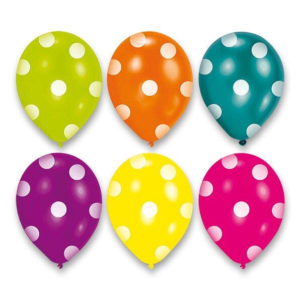 Nafukovací balónky Dots 6 ks, mix barev