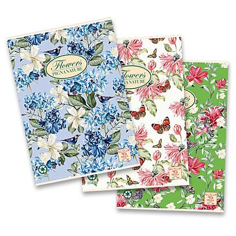 Obrázek produktu Školní sešit Pigna Nature Flowers - A4, čtverečkovaný, 40 listů, mix motivů