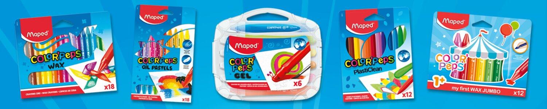 Maped nabízí klasické voskovky, tvrdé plastely i gelové nebo olejové pastely