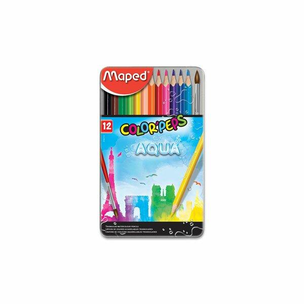 Pastelky Maped Color'Peps Metal Box Aqua 12 barev + štětec