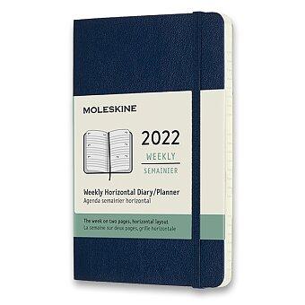 Obrázek produktu Diář Moleskine 2022 - měkké desky - S, týdenní, horizontální, modrý