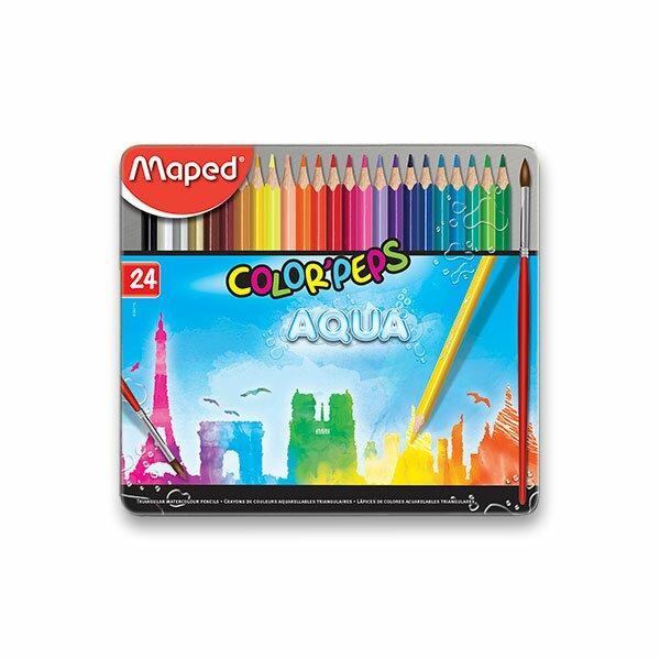 Pastelky Maped Color'Peps Metal Box Aqua 24 barev + štětec