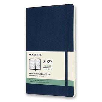 Obrázek produktu Diář Moleskine 2022 - měkké desky - L, týdenní, horizontální, modrý
