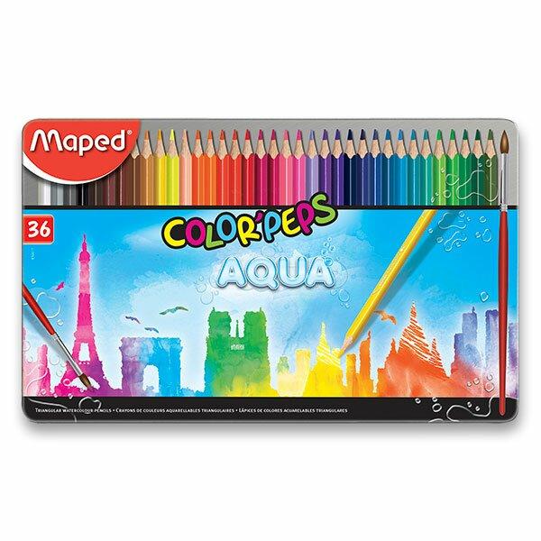 Pastelky Maped Color'Peps Metal Box Aqua 36 barev + štětec