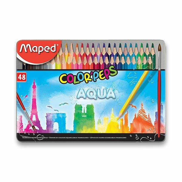 Pastelky Maped Color'Peps Metal Box Aqua 48 barev + štětec