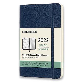 Obrázek produktu Diář Moleskine 2022 - měkké desky - S, týdenní, modrý