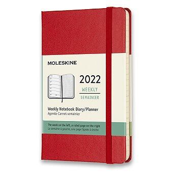Obrázek produktu Diář Moleskine 2022 - tvrdé desky - S, týdenní, červený
