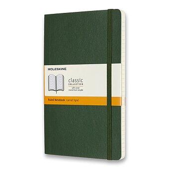 Obrázek produktu Zápisník Moleskine - měkké desky - L, linkovaný, tmavě zelený