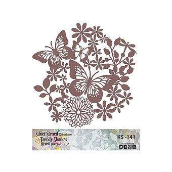 Obrázek produktu Plastová šablona Cadence - Motýli v květinách