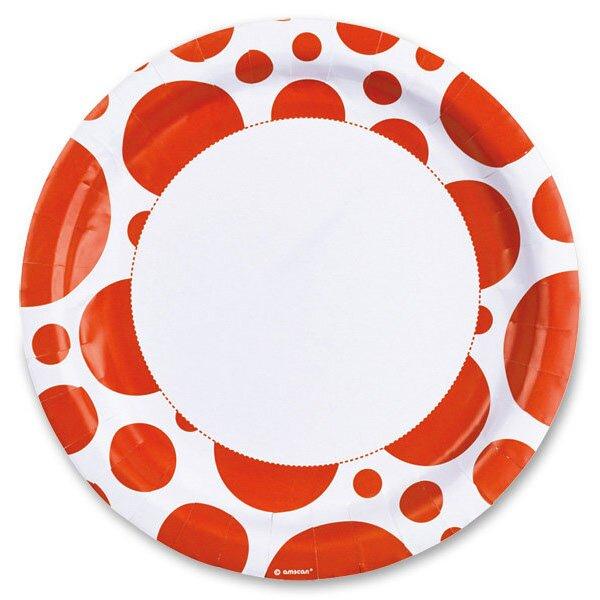 Papírové talířky Solid Color Dots oranžové