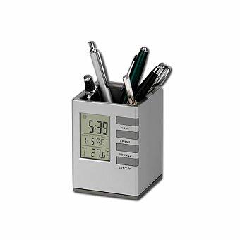 Obrázek produktu FABRIZIO - plastový stojánek na psací potřeby a hodiny, 5 funkcí, stříbrná