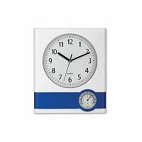 SELINA - plastové nástěnné hodiny s teploměrem, bílá