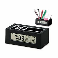 KEANU - plastový stojánek na psací potřeby a hodiny, 5 funkcí, černá