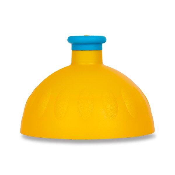 Kompletní víčko Zdravá lahev tmavě žluté/ modrá fluo zátka
