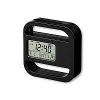 RAMOS - plastové stolní hodiny s magnetem, 5 funkcí, černá
