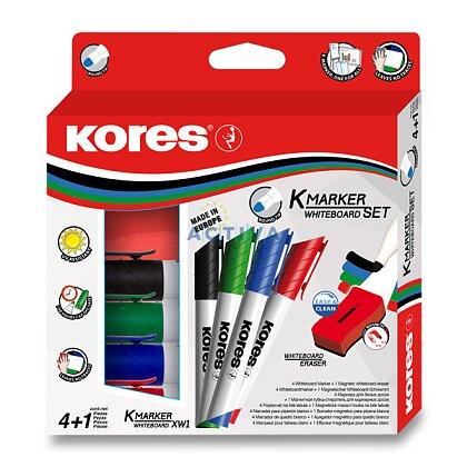 Obrázek produktu Kores Whiteboard set - popisovač - 4 barvy s mazací houbičkou
