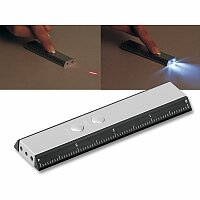 TOLA - plastová 2 LED svítilna s laser. ukazovátkem a pravítkem, výběr barev