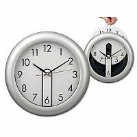 ELISEO - plastové nástěnné hodiny s vyjímatelným cifermníkem, stříbrná