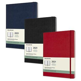 Obrázek produktu Týdenní diář Moleskine v tvrdých deskách 2021 - 19 x 25 cm, výběr barev