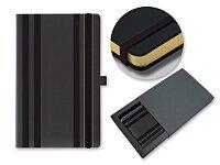 STRIPES CLASSIC - poznámkový zápisník s gumičkou 130 × 210 mm, černá