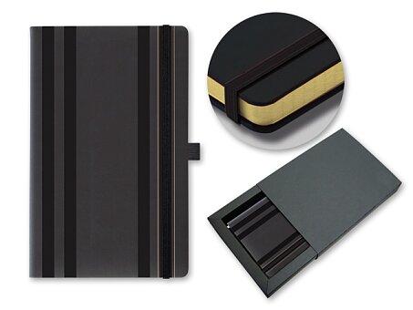 Obrázek produktu STRIPES CLASSIC - poznámkový zápisník s gumičkou 130 × 210 mm, černá