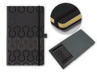 PISTONS - poznámkový zápisník s gumičkou 130 × 210 mm, černá