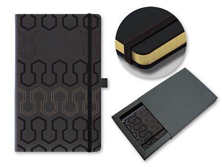 Obrázek produktu PISTONS - poznámkový zápisník s gumičkou 130 × 210 mm, černá