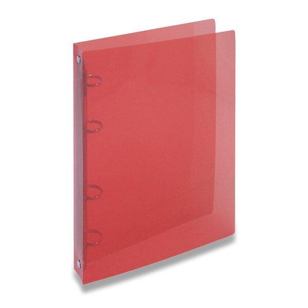 4kroužkový pořadač Transparent červený