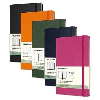 Obrázek produktu Týdenní diář Moleskine v tvrdých deskách 2021 - 13 x 21 cm, výběr barev