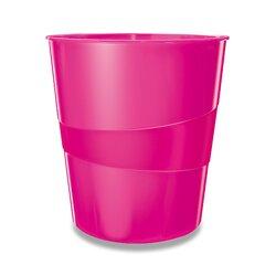 Leitz Wow - odpadkový koš - 15 l, růžový