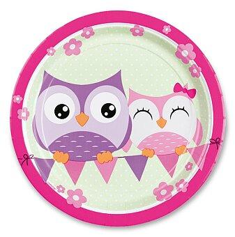 Obrázek produktu Papírové talířky Happy Owl - průměr 23 cm, 8 ks