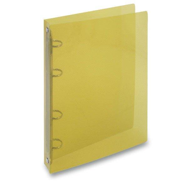 4kroužkový pořadač Transparent žlutý