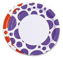 Papírové talířky Solid Color Dots