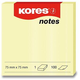 Obrázek produktu Samolepicí bloček Kores - žlutý - 75 × 75 mm, 100 listů