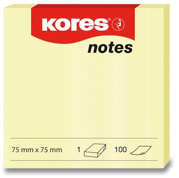 Samolepicí bloček Kores - žlutý 75 × 75 mm, 100 listů