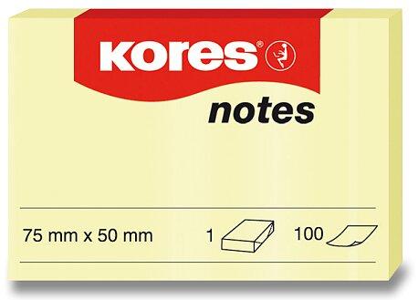 Obrázek produktu Samolepicí bloček Kores - žlutý - 75 × 50 mm, 100 listů