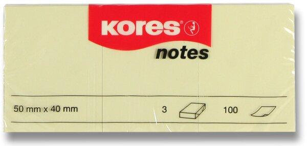 Samolepicí bloček Kores - žlutý 50 × 40 mm, 3 × 100 listů