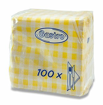 Obrázek produktu Žluté ubrousky Gastro - 1 - vrstvé, 33 x 33, 100 ks